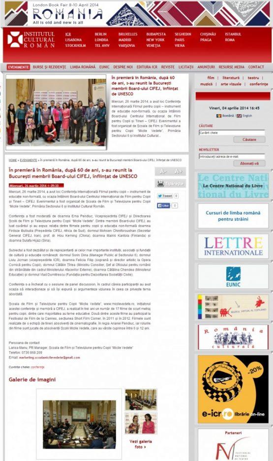 Articol Institutul Cultural Roman