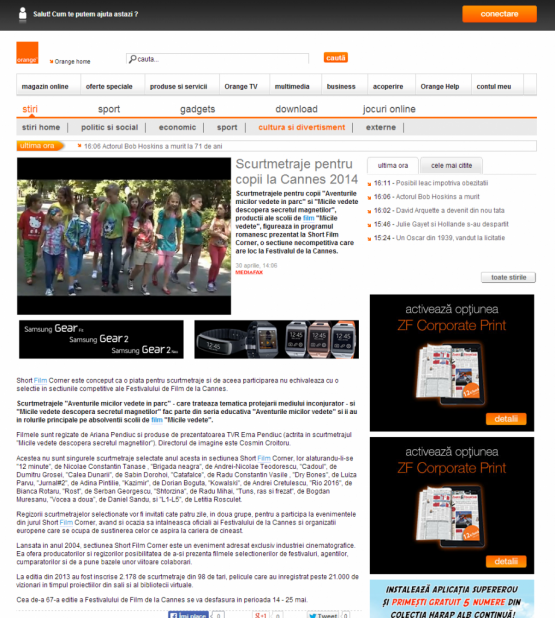 Articol Orange Romania