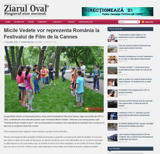 Articol Ziarul Oval