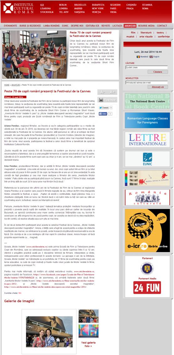 Aparitie site ICR