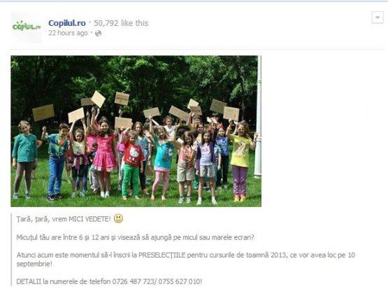 Pagina de facebook Copilul.ro